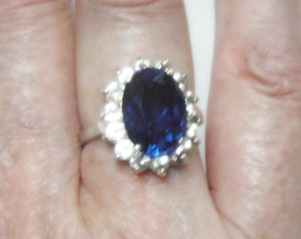 Blue Topaz Ring - 8 Carats Total Weight - White Topaz and Sterling Silver - Vintage