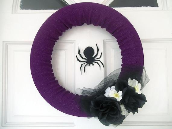 """Purple Spider Halloween Wreath-  14"""""""