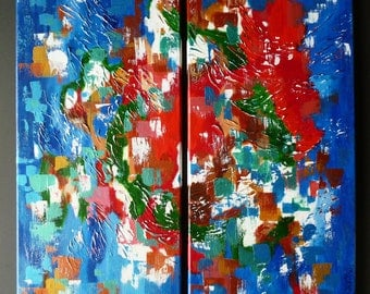 """Titled """" Festival """" .  Original two piece set  of acrylic painting each Size10"""" x 20"""" staples on back stretched canvas."""