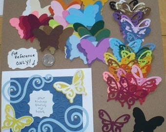 50 PC Total 2 Different Size Shapes Butterfly - Die Cut pieces Made from Rainbow color cardstock paper