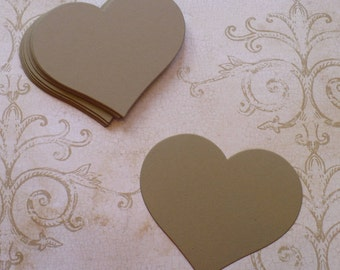 50 Full Heart Shape Die Cuts Made from Kraft Cardstock for Rustic Weddings Tags Cardmaking Labels