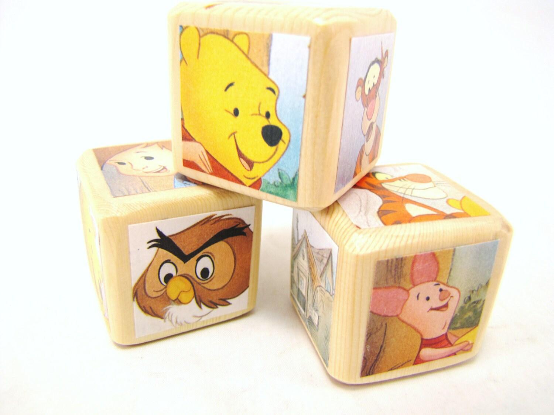 winnie the pooh baby shower decoration wood baby blocks