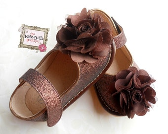 Toddler Brown Sparkle Leather Squeaky Mary Jane/Glitter Brown-  baby girl shoes