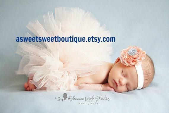 Newborn Tutu Baby Tutu Sweet Peaches And Cream Tutu Set Newborn Tutu Set With Matching Vintage Headband Stunning Newborn Tutu Photo Prop