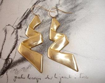 Ribbon Brass Dangle Earrings, Gold Fill Earwires, Vintage Raw Brass