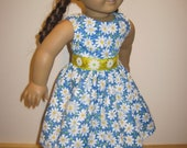 Doll Clothes Adorable Blue With White Daisy Dress that fits Most 18 Inch Dolls