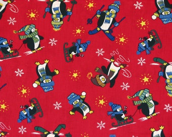 Penguin Fabric Christmas Fabric Winter Fabric Red Fabric Red Christmas Fabric 100% Cotton 1 Yard.
