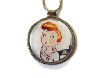 Reversible red head/ sheet music eye lens pendant, recycled repurposed upcycled