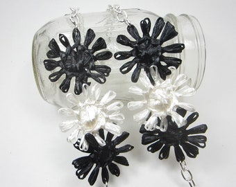 Delilah long flower necklace woven in vintage black and white Swistraw by Ruby Buffalo