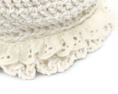 Hand Crocheted  Newborn Ruffled Cloche Hat in Soft Cream with Broderie Anglais Trim  - Great PHOTO PROP idea from Cwtch Bugs - UK Seller
