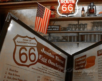 Route 66 photography, cafe, retro vintage restaurant cafe, nostalgic, American flag, historical wall art, quaint, American culture photo