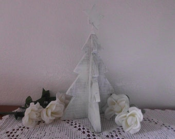 White Shabby Chic Christmas Tree Vintage Distressed Wood Rustic Paris French Country Farmhouse Cottage Cabin Holiday Winter Decoration