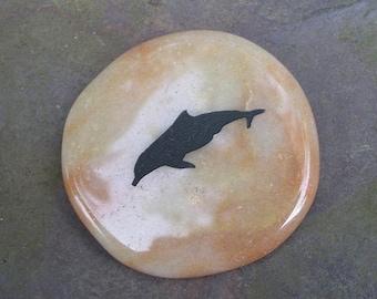 Dolphin Peach Aventurine Totem Gemstone Crystal Palm Stone