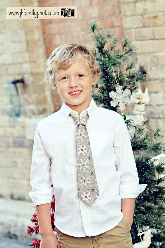 Believe Tie - Boys Grey Snowflake Holiday Tie