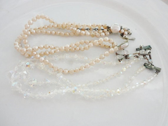 very old shabby double strand necklaces Aurora borealis glass beads and glass pearls  salvaged jewelry supplies lot 591