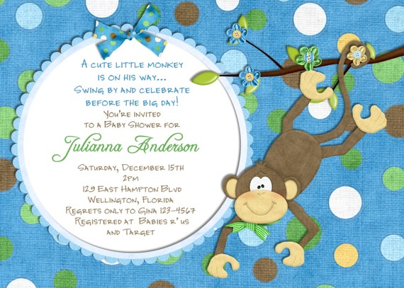 items similar to monkey baby shower invitation - baby boy shower, Baby shower invitations