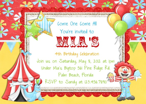 items similar to circus carnival birthday invitation printable, Birthday invitations