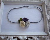Cream Silver and Grape Felt Rosette Trio Headband Newborn Photo Prop Infant Toddler-READY TO SHIP