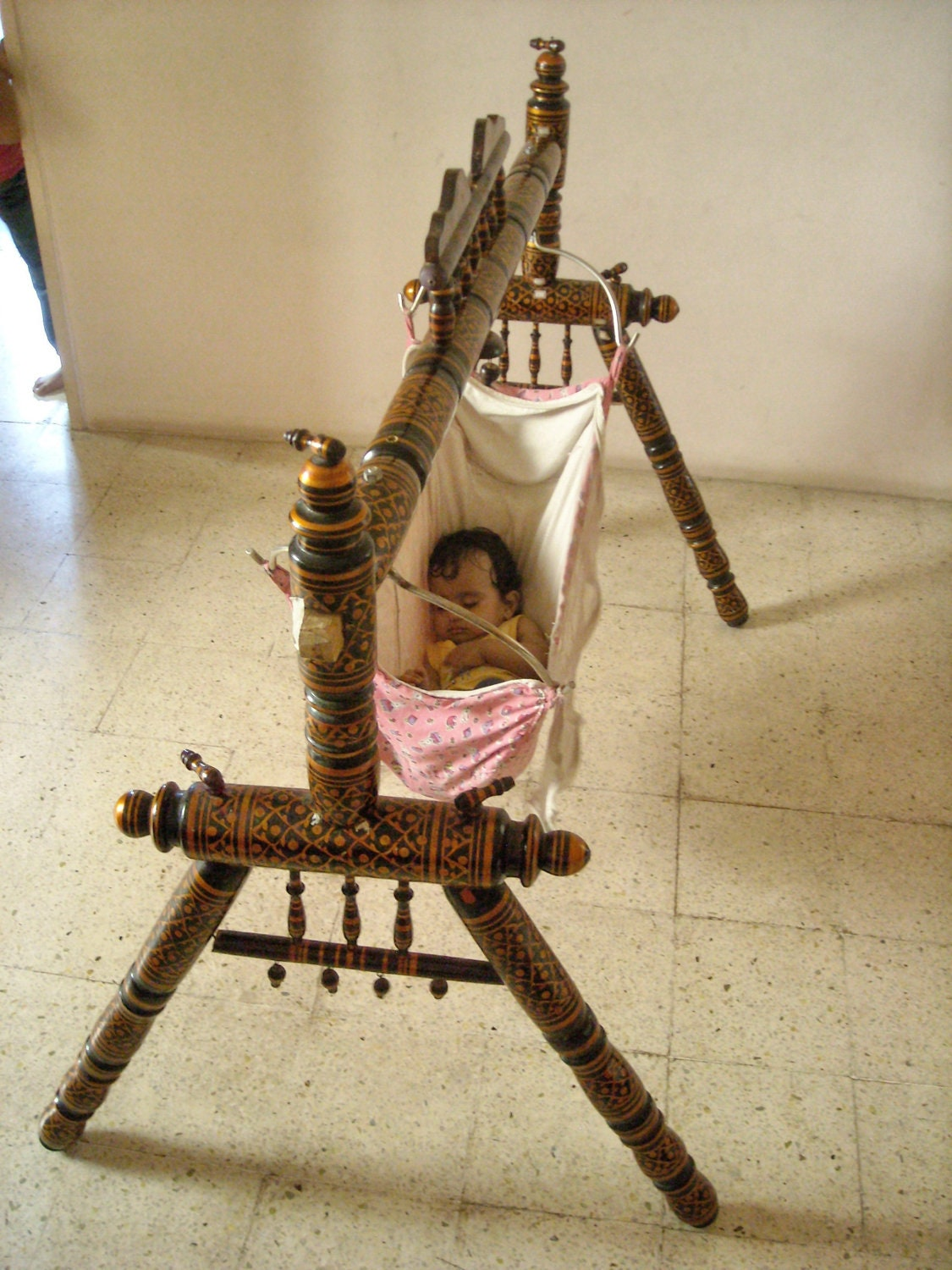 Indian Style Teak Wood Baby Swing Indian By