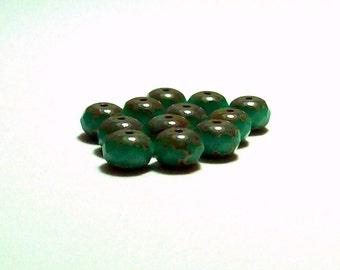 Opaque - Aqua - Turquoise -  Picasso Czech Glass Rondelles - 6mm - (12)