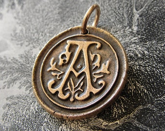 wax seal charm initial A - wax seal jewelry in bronze