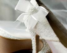 Custom Wedding Shoes -- White Platform Heels with Lace Overlay, White Bow and Swarovski Rhinestone Details