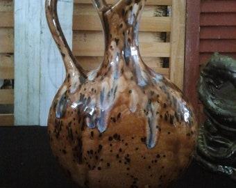 "Unique, Greek Vase, kitchen Pitcher, Finished Ceramic, Glazed Vase, Flower Vase, Created by TS Originals 9"" tall,"