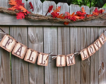 Wedding Garland, Fall In Love Banner, Burlap Banner, Barn Wedding, Engagement Banner, Bridal Shower Burlap Banner, Fall Mantle Decoration