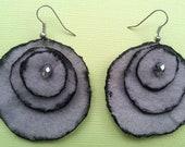 Handmade Grey Felt Earrings - Arttfelt