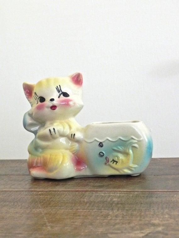 Vintage Ceramic Planter, Kitten with Fishbowl... Animal Figure Planter... Aqua, Yellow and Deep Pink on White