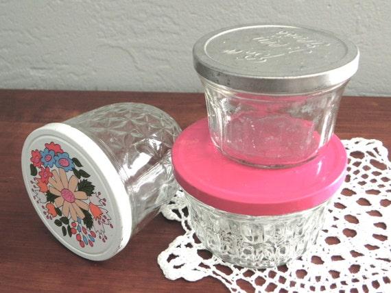 Vintage Jelly Jar Trio with Tin Lids