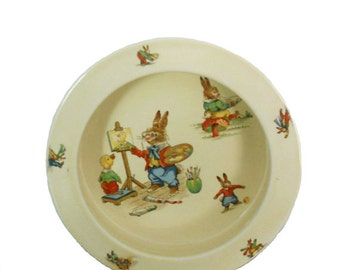Vintage Decorative Children's Bowl 1930's Royal Winton Cereal Bowl - Bunny's Playtime - Nursery Decor