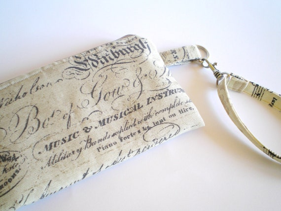 Wristlet vintage inspired   from canvas  old handwriting print in khaki padded