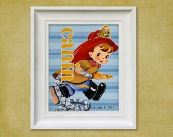 Nursery Art Print - Fireman 8x10 Personalized Firefighter Baby Room Decor