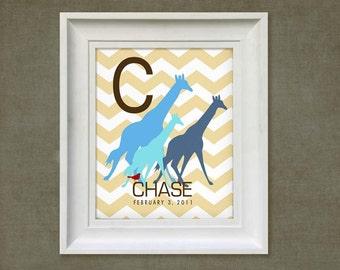 Giraffe Trio Print - 8x10 Personalized Chevron Baby Room Art