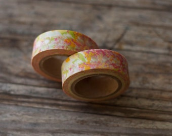 Japanese Washi Tape - Masking Tape roll in Seamless Yellow and Pink Floral Pattern