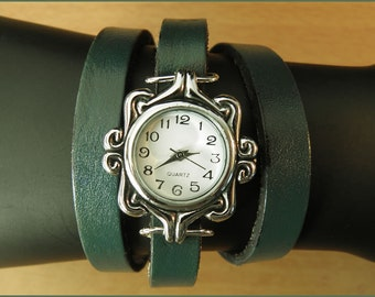 women wrist watch emerald handmade leather bracelet wrap