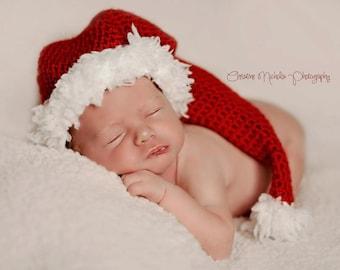 Christmas Baby Hat, Christmas Photo Prop, Baby Santa Hat, Baby Elf Hat