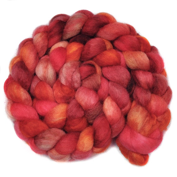 Hand painted roving - INEXPLICABLE REASONS - Blue Faced Leicester  (BFL) wool spinning fiber, 4.0 ounces