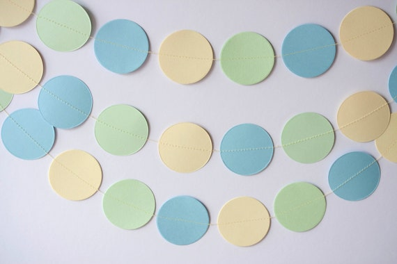 circle paper garland paster colors yellow blue green party decoration birthday party baby shower wedding bridal shower CLEARANCE
