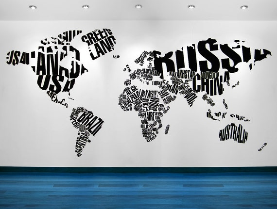 World map wall art world map decal world map wall decal like this item gumiabroncs Choice Image
