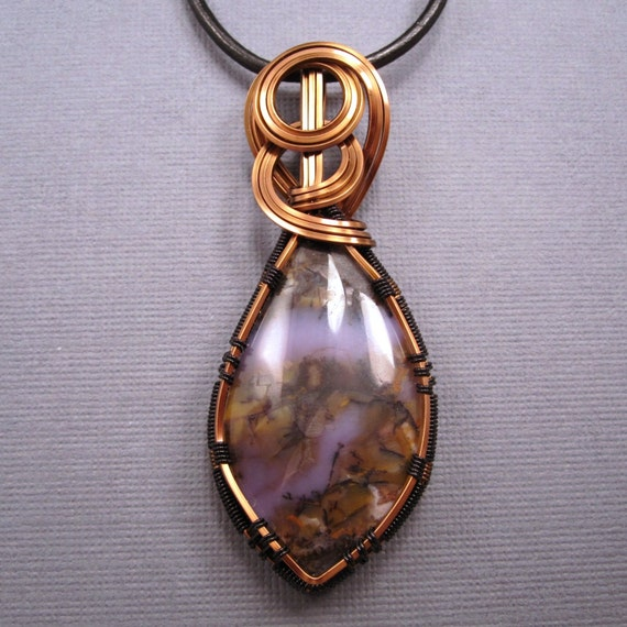 Wire Wrapped Pendant, Amethyst Sage Cabochon in Copper Wire on Black Leather Cord Necklace