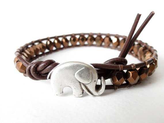 Elephant bracelet in metallic bronze & chocolate brown, good luck, beaded leather wrap bracelet with faceted Czech glass beads, boho chic