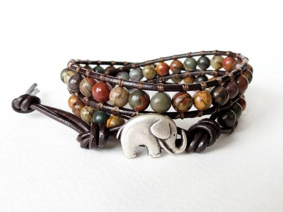 Earthy autumn / fall colors, elephant wrap bracelet, picasso jasper leather double wrap cuff bracelet, good luck bracelet