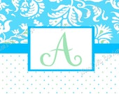 Damask and Polka Dot Aqua and Green Personalized Placemat