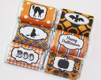 Instant Download Halloween Orange and Black Mini Hershey Bar Candy Wrappers