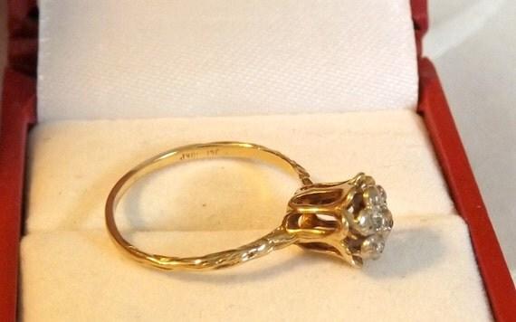 Reserved Olga Vintage Diamond Tulip Engagement Ring Right