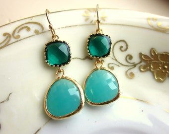 Emerald Green Earrings Aqua Blue Two Tier - Bridesmaid Earrings - Wedding Earrings - Valentines Day Gift