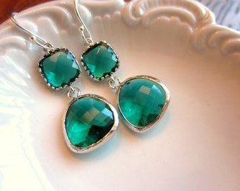 Emerald Green Earrings Silver Two Tier - Sterling Silver Earwires - Bridesmaid Earrings - Wedding Earrings - Bridal Earrings