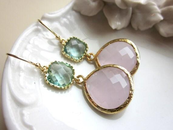 Large Pink Opal Earrings Gold Prasiolite Green Two Tier -  Bridesmaid Earrings Wedding Earrings Valentines Day Gift